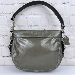 Coach Zoe Mini Patent Leather Silver Hobo Bag